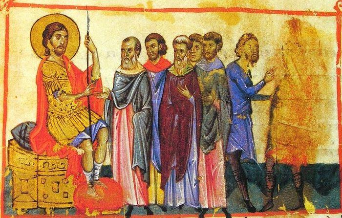Иисус Навин наставляет израилитян. Византийская миниатюра