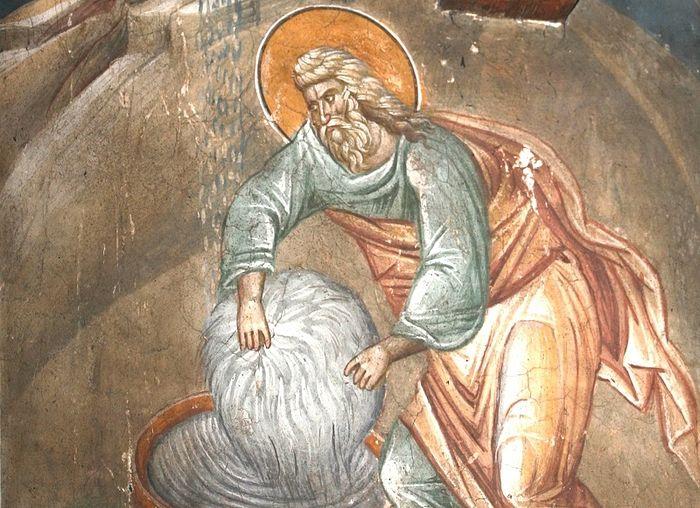 Бог дает Гедеону знамение шерсти и росы. Монастырь Высокие Дечаны, Сербия