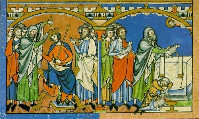 Пророк Самуил помазывает Саула на царство. Миниатюра, Библия Мациевского