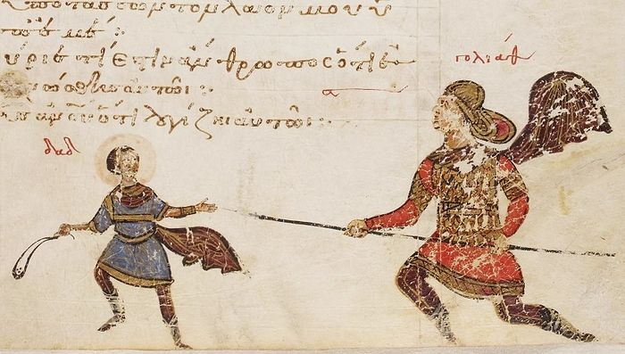 Давид и Голиаф. Миниатюра, Псалтирь Феодора, Византия