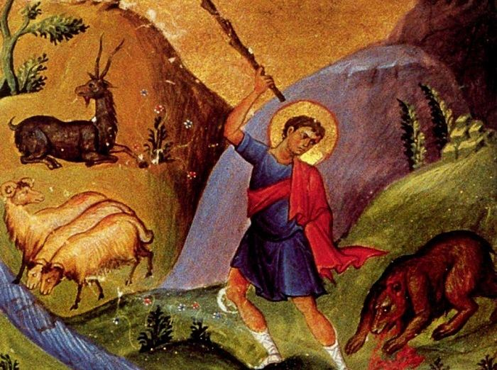 Давид, защищающий своё стадо от медведей. Византийская миниатюра 9467d42c30b