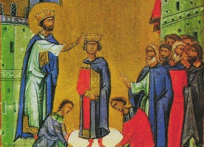 Давид венчается на царство. Византия, Псалтирь, 1088 г.