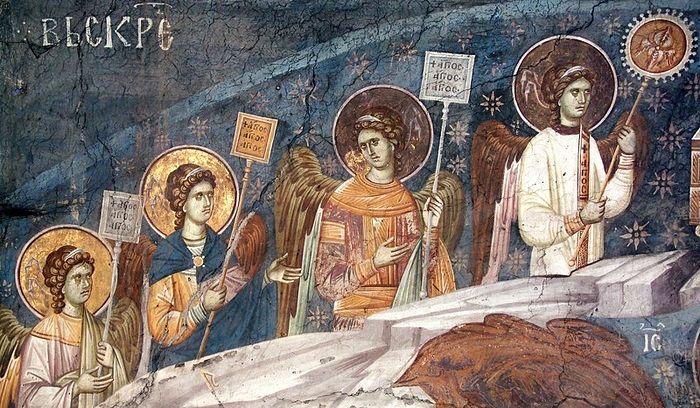 Ангелы с рипидами. Сербия, монастырь Грачаница