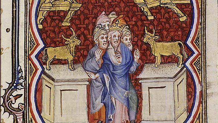 Иеровоам устанавливает золотых тельцов и провозглашает независмость от Иудеи. Фаргмент манускрипта, XIV в.