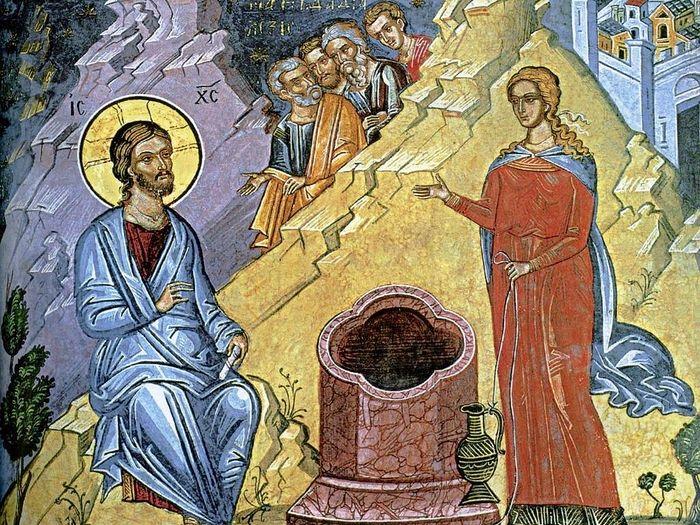 Христос беседует с самарянкой. Монастырь Дионисиат, Афон