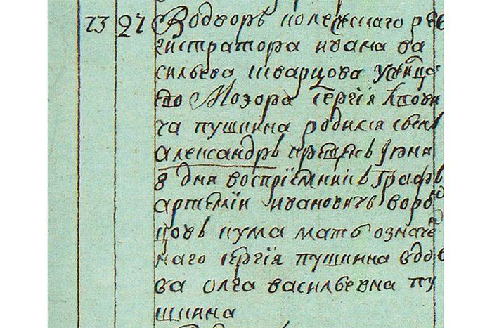 Запись в метрической книге церкви Богоявления о рождении Александра Пушкина.