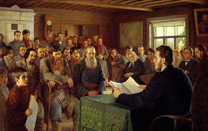 Н.П. Богданов-Бельский. Воскресные чтения в сельской школе, 1895 г.