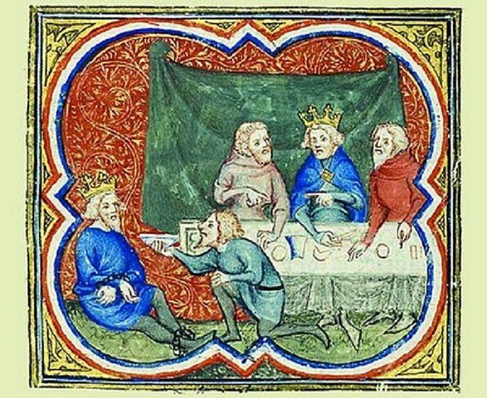 Пленный царь Седекия перед царем Навуходоносором. Миниатюра из «Исторической Библии», 1372 г.