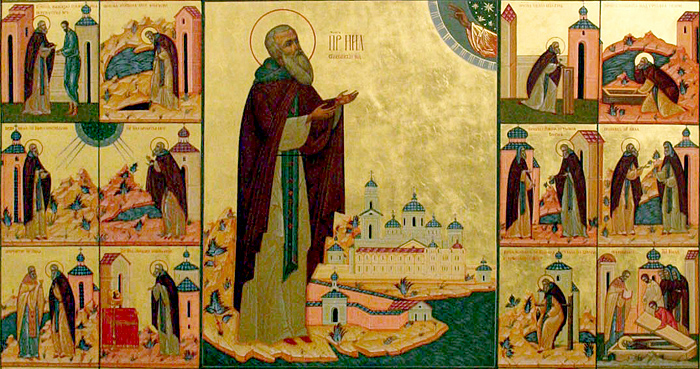 Преподобный Нил Столобенский. Фрагмент иконы с клеймами