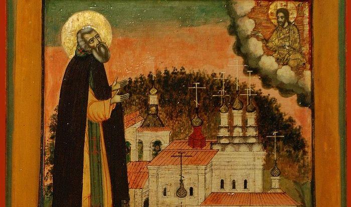 Преподобный Нил Столобенский. Фрагмент иконы