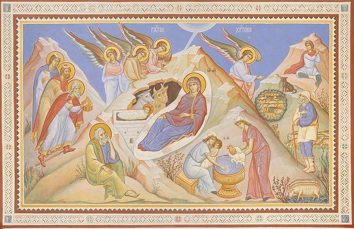 Рождество Христово. Фреска в храме иконы Божией Матери Знамение в Первой Градской больнице
