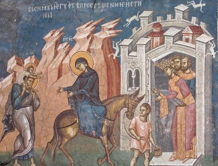 Бегство в Египет. Монастырь Высокие Дечаны, Сербия