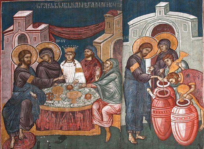 Чудо в Кане Галилейской. Монастырь Высокие Дечаны, Сербия