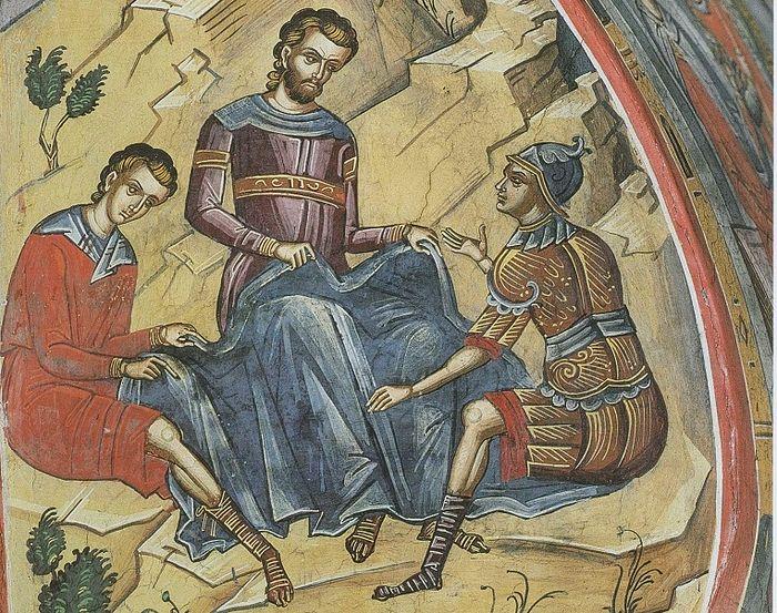 Воины мечут жребий о ризах Господних. Монастырь Дионисиат, Афон