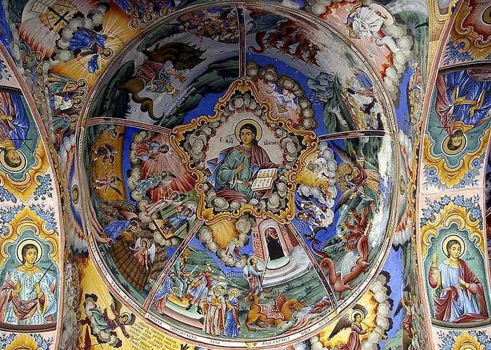 Jesus Christ Pantocrator. Fresco from the narthex of the Nativity of the Theotokos Church, Rila Monastery, Bulgaria