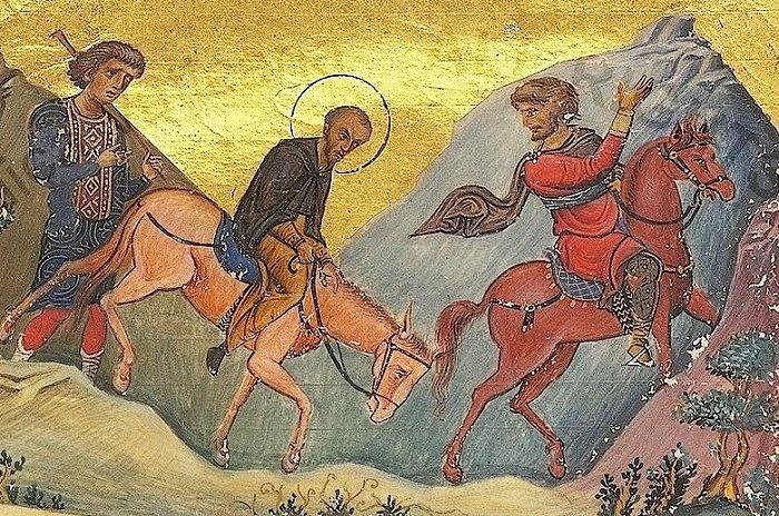 Свт. Иоанн Златоуст отправляется в изгнание. Миниатюра Менология Василия II, 985 г.