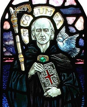 A stained glass of St. Columba of Iona (taken from Pinterest.com)
