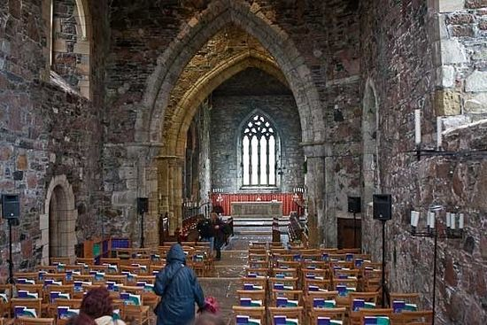 Interior of the restored abbey church on Iona (source - Pinterest.com)