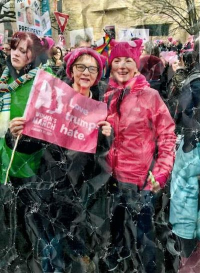Marilyn Rouvelas, co-author with Patriarch Bartholomew's adviser Fr. John Chryssavgis, at the Women's March in Washington, DC