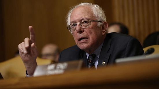 Sen. Bernie Sanders (I-Vt.), ranking member of the Senate Budget Committee, questions Office of Management and Budget Director Mick Mulvaney during a hearing May 25, 2017 in Washington, D.C. In a separate hearing, Sanders had pointed questions for Russell Vought, a devout Christian and the president's nominee for deputy director in the Office of Management and Budget. (Win McNamee / Getty Images)