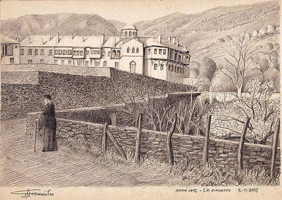 Афон. Монастырь Филофей. Рисунок паломника, 2005 год. Фото с сайта agionoros.ru