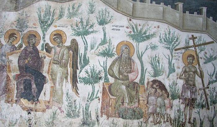 Рай. Фреска церкви Успения в Грачанице. XIV в.