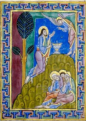 St. Alban's Psalter. A detail depicting the Agony of Christ in the Garden of Gethsemane (photo from Wikipedia)