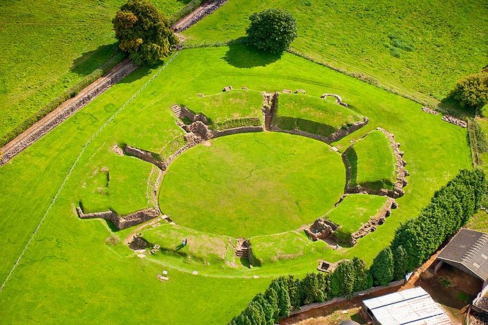 The Roman amphitheater at Caerleon in Newport, Wales, where Sts. Julius and Aaron were presumably martyred