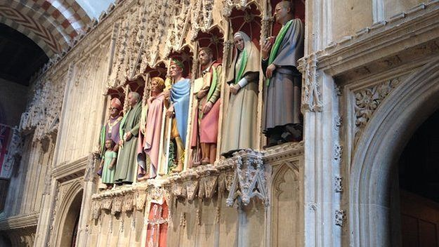 The seven new statues at St. Albans Cathedral - St. Alban is fourth from the left, St. Elisabeth is sixth from the left (source - BBC.com)