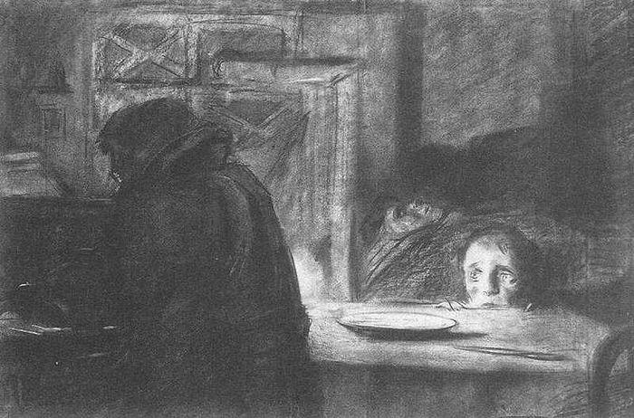 Илья Глазунов. Блокада. Из серии «Ленинградская блокада.1942-1944».1956