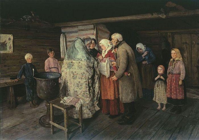Крестины, П.И. Коровин