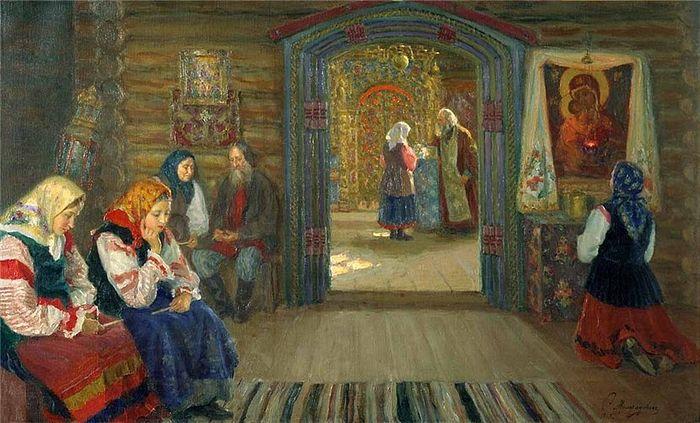Сергей Милорадович. У исповедника. 1915
