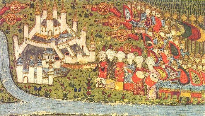 Османское войско осаждает Белград. Турецкая миниатюра XV в.