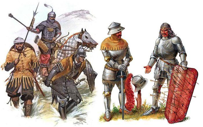 Воины противоборствующих сторон: слева – османский пехотинец с копьем, пеший янычар штурмовой колонны и тяжелый всадник; справа – венгерский и сербско-далматийский воины
