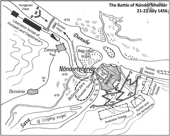 Схема Белградской битвы 1456 г.