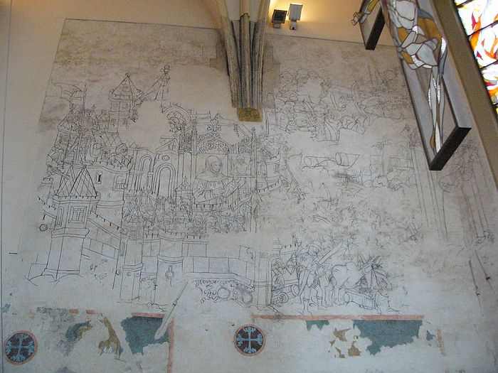 Чешская фреска из церкви в г. Ольмюц, 1468 г. Это самое раннее сохранившееся изображение кульминационного момента Белградской битвы 1456 г., созданное явно при участии свидетелей события