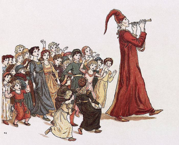 "The Pied Piper leads the children out of Hamelin. Illustration by Kate Greenaway for Robert Browning's ""The Pied Piper of Hamelin"". Photo: Wikipedia"