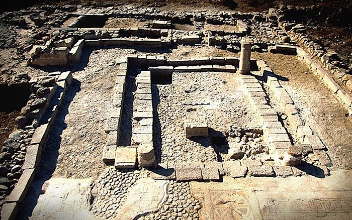 A first century CE synagogue found at the Magdala dig site in Israel's Galilee region. (courtesy)