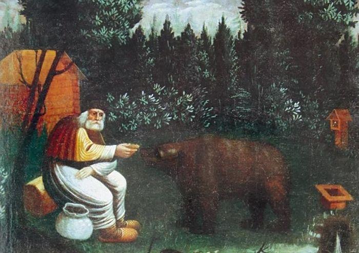 Преподобный Серафим Саровский, кормящий медведя. Вторая половина XIX в.