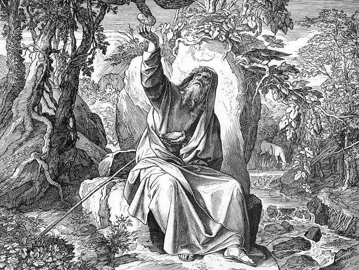 Вороны кормят Илию. Графика. Юлиус Шнорр фон Карольсфельд