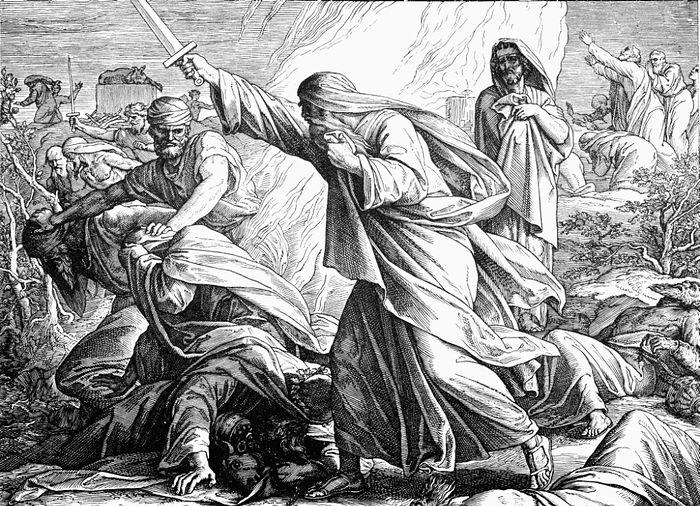 Святой Пророк Илия уничтожает жрецов Вааловых. Гравюра Юлиуса Шнорра фон Карольсфельда
