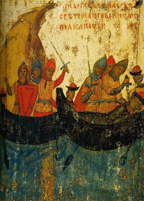 The murder of Gleb in a boat. Scene from an icon of Sts. Boris and Gleb Church in Zaprudi, Kolomna. Late fourteenth century.