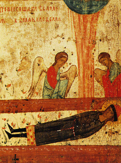 The body of Gleb, forsaken in the wilderness between two logs, a pillar of fire over him and angels inclining towards him. Scene from an icon from Sts. Boris and Gleb Church in Zaprudi, Kolomna. Late fourteenth century.