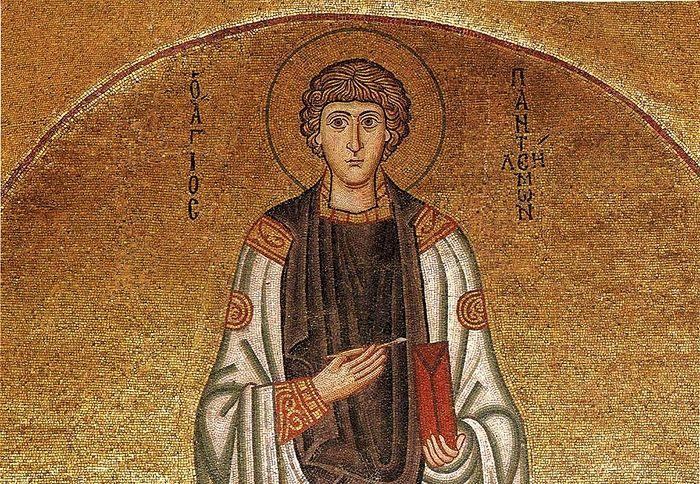 Великомученик и целитель Пантелеимон. Мозаика. Греция, монастырь Осиос Лукас. ХІ век