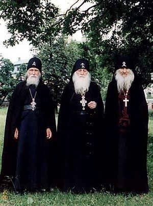 Санаксарские старцы: схиархимандрит Феофан (Даньков), схиархимандрит Питирим (Перегудов) и схиигумен Иероним (Верендякин)