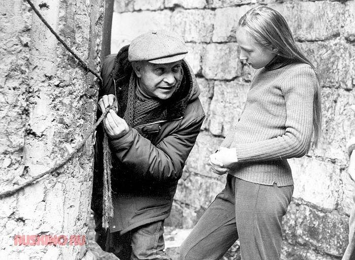 Ролан Быков и Кристина Орбакайте на съемках фильма «Чучело»;