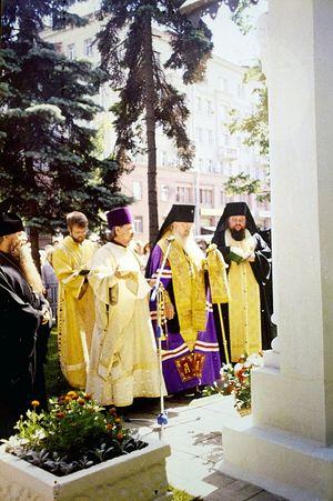 Освящение Владыкой Алексием скульптуры святителя Пантелеимона работы В.М. Клыкова
