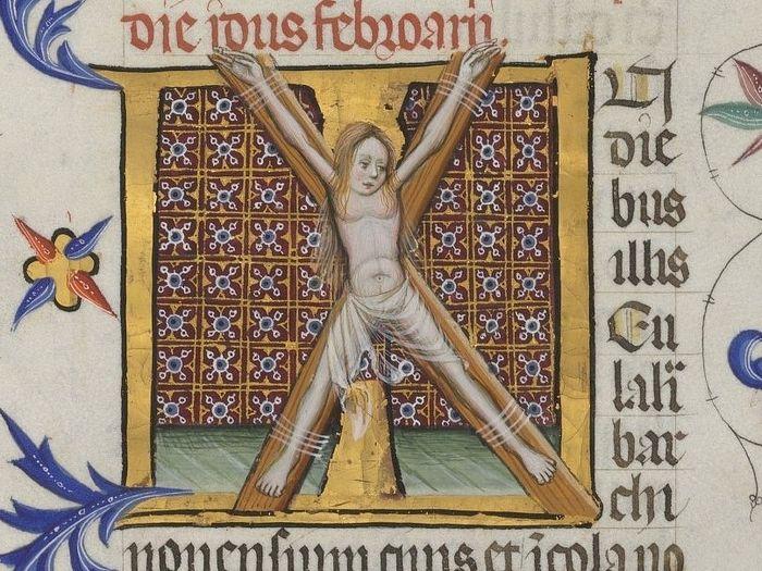 Распятие святой мученицы Эулалии (миниатюра из средневековой рукописи)