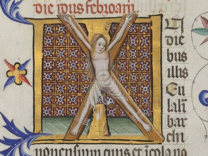 The crucifixion of the holy Martyr Eulalia (miniature from a medieval manuscript)