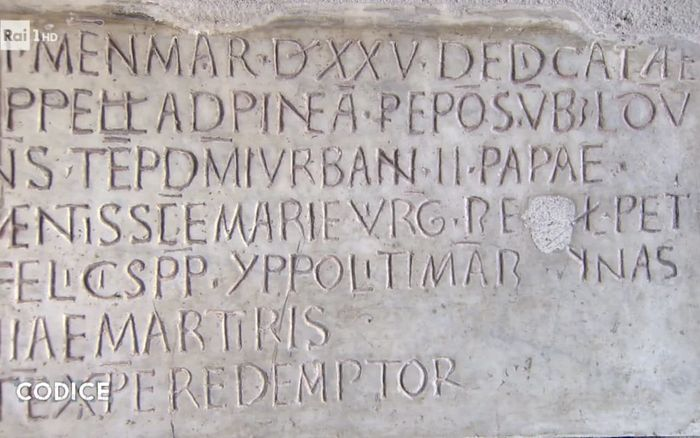 A stone inscription in the church records the fact that it guards the relics of St Peter and other early popes, as well as martyrs. Photo: CODICE/RAI UNO